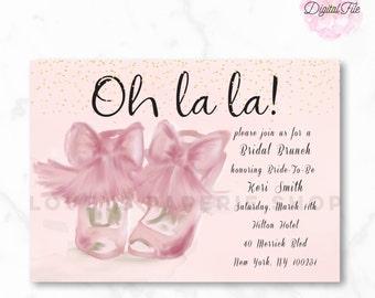 BLUSH PINK BRIDAL Shower Invitation Watercolor Bow Shoes DiY Digital Printable