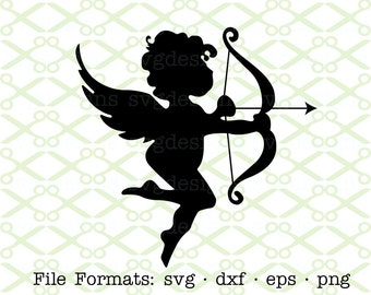 Cupid SVG, Dxf, Eps & Png. Digital Cut Files for Cricut, Silhouette; Valentine Svg Files, Valentine's Day Svg Designs, Cupid Silhouette SVG