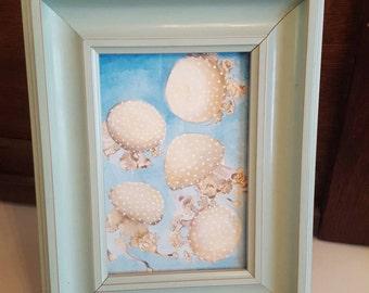 "4"" x 6"" Original Moon Jellyfish Artwork, Frame Included"