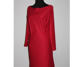 Red dress with V back, long sleeve, cotton dress, V shaped back, S/M; L sizes