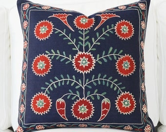 Silk Hand Embroidered Suzani Pillow Cover Blue Red Green Silk Vintage Organic Pillow - Decorative Pillows - Throw Pillow - Accent Pillow