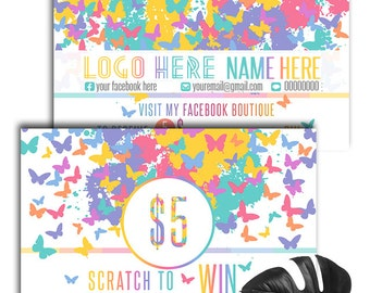Business Cards Scratch Off Custom Home Office Approved Fonts and Colors  - Butterfly Business Cards , ,