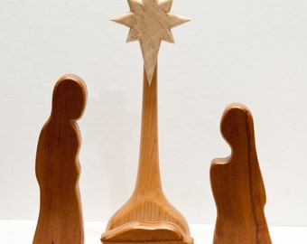 Nativity scene, Wooden nativity set, Creche nativity scene, Christmas gift