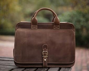 Tan Leather Messenger bag/ Leather Shoulder Bag/ Leather Briefcase / Leather School Bag/ Leather Mens Bag