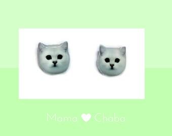 White Persian Cat Earring, cat lover gift, Made in Australia, Valentines Gift, Birthday Gift