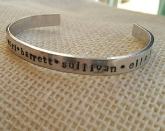 Hand Stamped Personalized Cuff Bracelet with Kids/Grandkids Names