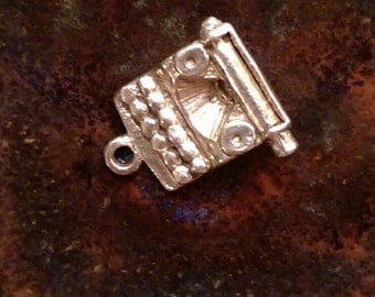 Vintage typewriter sterling silver charm pendant or keychain charm