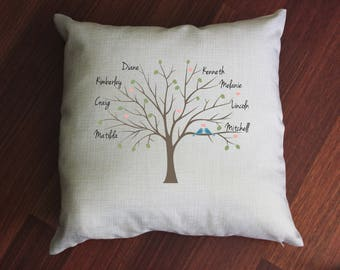 Personalised Family Tree Cushion, gift for her, home decor, decorative, custom, house warming, gift for mum, gift for nanna, loungeroom, bed