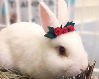 Pet Rabbit Rose Crown, Pet Rabbit Flower Accessory, Pet Rabbit Flower crown