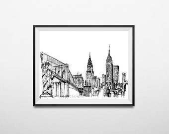 Hand Drawn New York Skyline