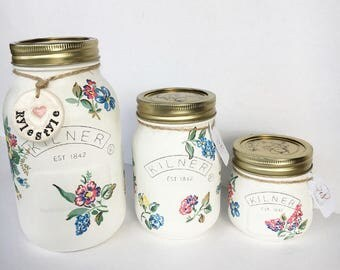 Set of 3 Highgate Rose Floral Kilner Jars