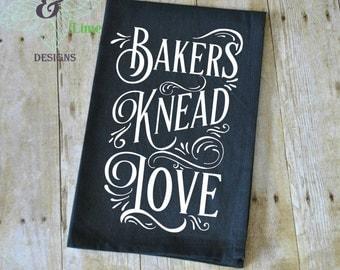 Black Kitchen Towel, Bakers Knead Love, Flour Sack Towel