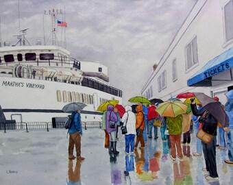 Umbrella watercolor original Martha's Vineyard rainy day painting 12x16
