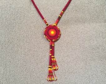 Native American hand beaded traditional necklace