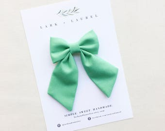 SALE / Fabric hair bows, bows for girls, sailor bow, toddler hair bows, baby hair clips, infant headbands, green hair bow, baby shower gift