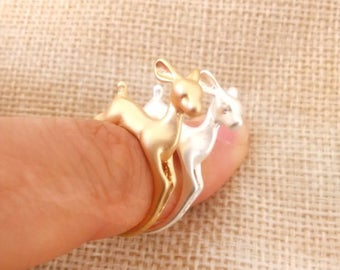 animal ring, Bambi ring, Deer Ring, Retro Ring, Adjustable ring, gold ring, silver ring, 3D Animal Ring, band ring,wrap ring, midi ring,gift