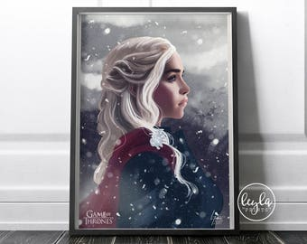Game of Thrones Season 7 Poster - Daenerys Targaryen | Game of Thrones Print | A6/A5/A4/A3 Illustration Print | GoT Poster | For Him For Her
