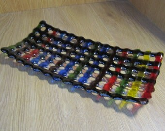 Multi coloured glass stripe dish
