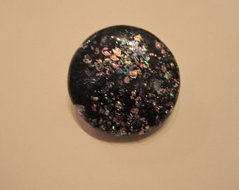 Black with multi coloured fleck Dichroic glass circular brooch
