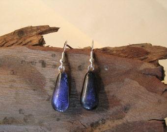 Purple drop  glass ear rings