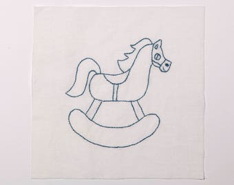 FREE SHIPPING: Vintage Embroidered Blue Rocking Horse Nursery Quilt Piece - Hand Stitched Cotton Children's Quilt Block