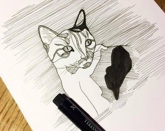 "Custom pet portrait A5 6""x8"" minimalistic ink line drawing of cat dog animal from photograph for pet lover owner"