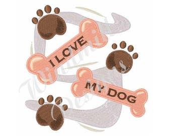 Love My Dog Bones And Paw Prints - Machine Embroidery Design