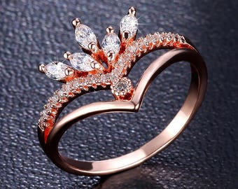 Rose Gold Crown Ring With Cubic Zirconia, Princess Ring, Tiara Ring, Princess Crown Ring Rose Gold Or White Gold Jewelry, Crown Jewelry Diy