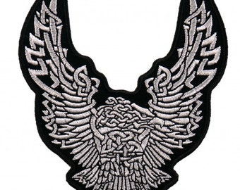 "CELTIC EAGLE DOWNWING, High Thread Embroidered Iron-On / Saw-On, Heat Sealed Backing Rayon Patch - 4"" x 4"""