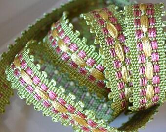 fabric trim tape,upholstery tape, green pink yellow braided trim tape,drapery tape trim border trim