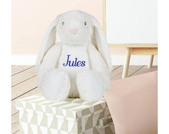 Plush rabbit custom embroidered with your name personalized gift child