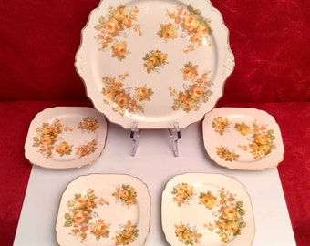 Mid-Century Fine China Platter and 4 Plates Yellow Roses on Ivory by King Quality Dinnerware 22KT Gold USA