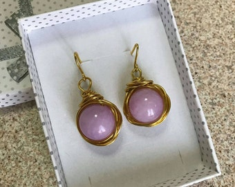 Wire earrings and jade Pearl lilac