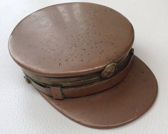 Superb French Trenchart Copper and Brass Naval Officers Shaped Hat, Snuff/Tobacco or Trinket Box.
