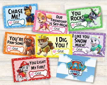 Paw Patrol valentines for kids valentine party Set of 8 valentine cards 4.5x2.75 inches