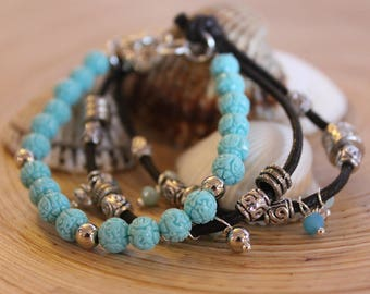 Bracelet with semiprecious stones, charms and crystals celeste