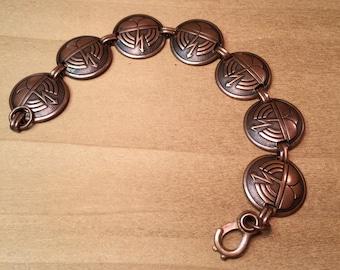 Solid Copper Thundercloud Link Bracelet