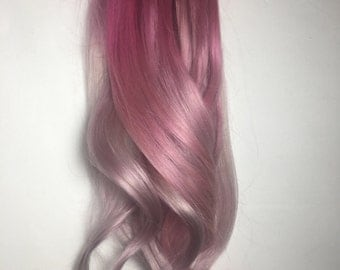 Pink Balayage Clip in Hair Extensions : Pink Clip In Hair Extensions, Pink Hair Extensions, Ombre Hair, Custom Hair Extensions,clip in Hair.
