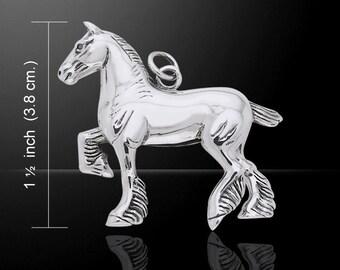 Trotting Draft Horse Silver Pendant