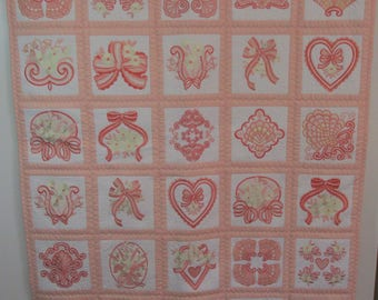 "Machine Embroidered Baby Quilt, Crib Quilt, Baby Blanket, Handmade Baby Quilt - Peaches & Cream - approx 40"" x 48"""
