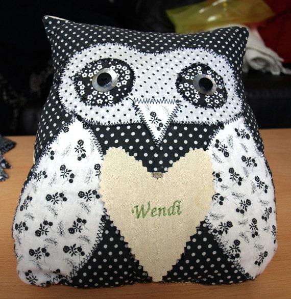 Handmade Owl Cushion - Personalised Decorative Fabric - Various colours  - unique quality special bespoke novelty UK