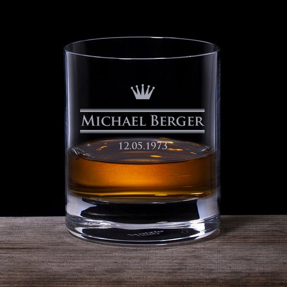 Whisky Glass with Engraving - Personalised Tumbler with Name and Date - Crown - Gifts for Men