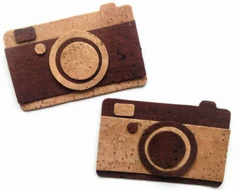 Photo Camera Die Cut, Fully Assembled Cork Fabric Camera Applique for Craft & Sewing Projects