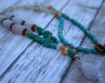 Boho Beaded Necklace, Copper Necklace, Turquoise Necklace, Rose Quartz Necklace, Citrine Necklace, Long Gemstone Necklace, Gemstone Necklace