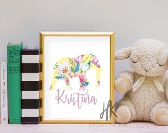 PRINTABLE: 8x10 Floral Elephant Print with Custom Name/ Nursery Print/ Child's Room Print/ Baby Room Print/ Baby Girl Print