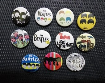 the Beatles buttons set of 11! (badges, pins, botones, imagine, john lennon, 50s rock n roll)