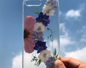 iPhone 7 Case Pressed Flower, iPhone 7 Plus Case Clear, iPhone X Case iPhone 8 case, clear samsung galaxy s8 Case, Purple Flowers Case 025