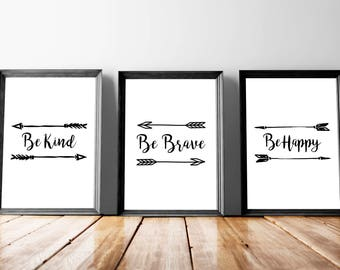Nursery Brave Decor, Nursery Brave Art, Nursery Brave Print, Kind Nursery Art, Brave Nursery Sign, Kind Nursery Print, Kind Nursery