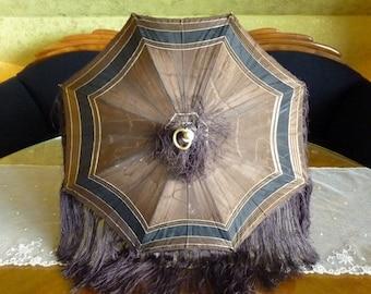 Brown Carriage Parasol, antique umbrella, Victorian Parasol, antique parasol, England, 1880s