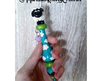 Little Bo Peeps Sheep Ergonomic Crochet Hook and Yarn Ball Stitch Marker